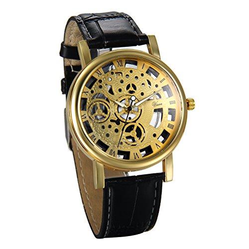 JewelryWe Herren Armbanduhr, Retro Analog Quarz Business Casual Skelett Uhr mit Schwarz Leder Armband und Gold Rund Römischen Ziffern Zifferblatt