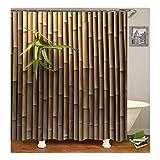 Bishilin Antischimmel 3D Duschvorhang 165X200 Bambuss Badezimmer Duschvorhang