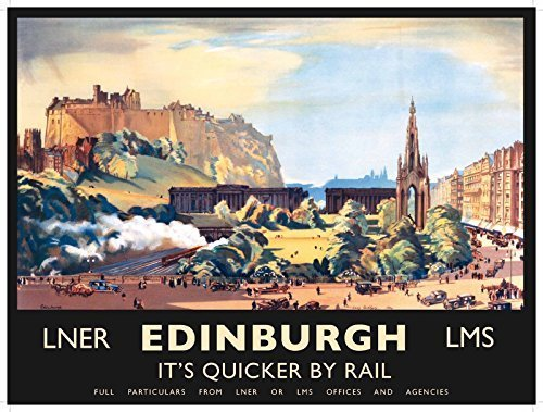 Edinburgh. LNER. LMS. IT 'S QUICKER BY RAIL. Malerei von Edinburgh. Zeigt Alte und Neue Teile der Stadt. Old Retro Vintage Urlaub Werbung. Edinboro. Metall/Stahl Wandschild - 15 x 20 cm