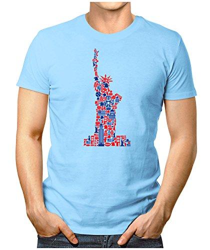PRILANO Herren Fun T-Shirt - MISS-LIBERTY - Small bis 5XL - NEU Hellblau