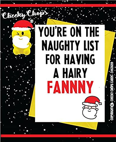 Funny Erwachsene Weihnachten Karte/Rude/Humor/DIRTY/Witty/Offensive/Cheeky – Hairy Fanny XM21