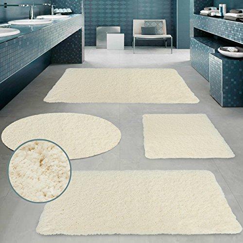 Alfombrilla de lujo CLOUD Pink Papaya - Ø 95 cm - alfombra de baño súper suave de felpa de 60% microfibra / 40% algodón en calidad premiu - Color: Beige