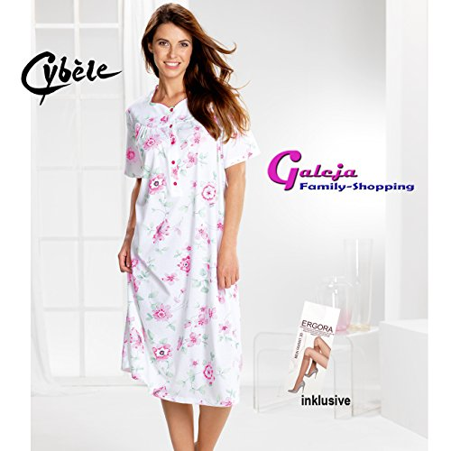 Cybele by Galeja Damen Nachthemd kurzer Arm Länge 110 cm 7 Größen 40 - 52 mit Knopfleiste Nachtwäsche + 1 Paar Feinkniestrümpfe Weiss mit Print