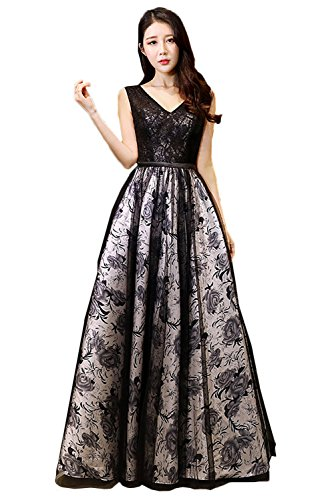 Sunvary Neu Damen V-Neck Lang Neu Abendkleider Ballkleider Promkleider Partykleid Bildfarbe