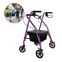 SHOW-WF Lightweight Folding Four Wheel Rollator Walker with Padded Seat, Lockable Brakes, Ergonomic Handles, and Shopping Bag, Limited Mobility Aid,Purple