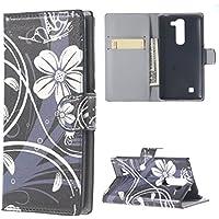 Custodia LG Magna Pelle,Protettiva in Pelle Caso Guscio Flip Folio Case Wallet Cover per LG G4C/LG Magna(5 Pollici) Custodia Casi Portafoglio(Fiore bianco)