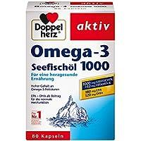 Doppelherz Seefischöl Omega-3 1000 mg – Nahrungsergänzungsmittel mit Seefischöl plus Vitamin E – Hoher Gehalt an Omega-3-Fettsäuren – 1 x 80 Kapseln