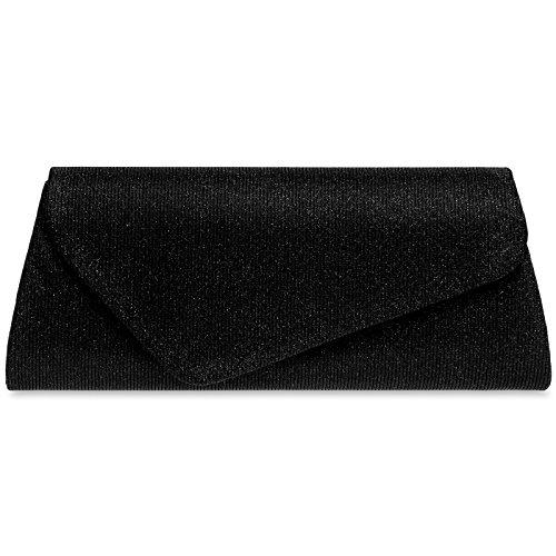 Caspar TA394 Damen elegante Glitzer Stoff Baguette Clutch Tasche Abendtasche mit langer Kette, Farbe:schwarz, Größe:One Size