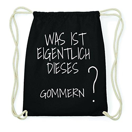 JOllify GOMMERN Hipster Turnbeutel Tasche Rucksack aus Baumwolle - Farbe: schwarz – Design: Was ist eigentlich - Farbe: schwarz