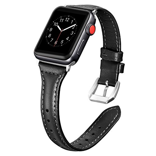 Dolank for Apple Watch Strap 38mm / 42mm Slim Replacement Leather Band Sport Bracelet for Nike Iwatch, 3 2 1 Series, Edition Stainless Steel Buckle, Black, 42mm