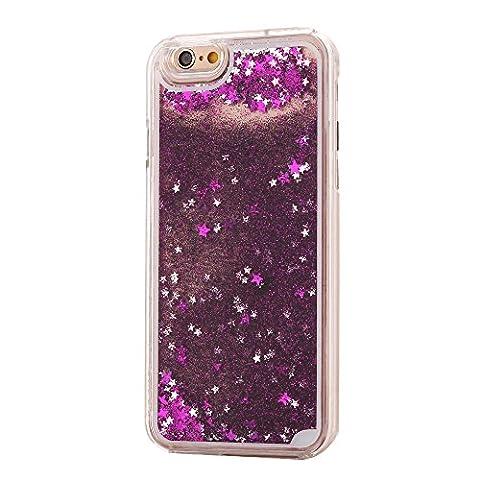 iPhone 6S & 6 Design Glitzer-Handyhülle mit Glitzerflüssigkeit | 3D-Schneekugel-Effekt mit bunten Sternen | Handytasche | Handy-etui | TPU-Bumper | hochwertiges Hard Case | Cover für den optimalen Schutz ihres iPhones von SphinxGear (lila)