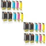 20x kompatible Tintenpatronen für Epson Stylus Office B42WD BX525WD BX535WD BX625FWD BX630FW Black Cyan Magenta Yellow C13 T1301 T1302 T1303 T1304 - Sparpack - Eco Office Serie