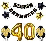 BSL Décorations Anniversaire,Kit de décorations de fête du 40e Anniversaire, Bannière d'anniversaire, Ballons avec Numéro 40 en Or, Ballons en Latex et en Étoile