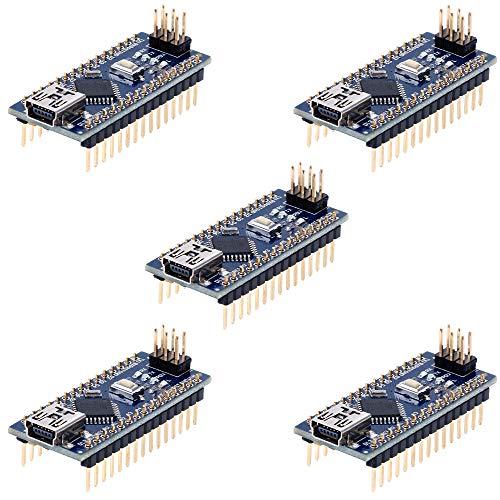Anpro 5 Stück Nano Plus Entwicklerboard mit CH340 Chip Atmega328P für Arduino, EINWEG -