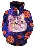 Leapparel Hip Hop Lustige Hoodie für Herren Jungen 3D Pizza Katze Grafik All-over Print Pullover mit Tunnelzug und Große Kängurutasche und Fleece-Innenfutter