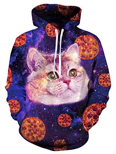 Leapparel Herren Kapuzensweatshirt Hoodies Men 3D Grafik All-over Print Pullover mit Tunnelzug und Große Kängurutasche und Fleece-Innenfutter (Teenager Katze Kostüme)