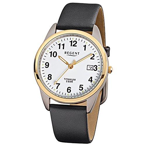 Regent Reloj de pulsera elegante Analog de piel para hombre de pulsera Negro Reloj de cuarzo urf687