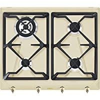 Smeg SRV864POGH Integrado Encimera de gas Crema de color hobs - Placa (Integrado, Encimera de gas, Crema de color, Esmaltado, 1100 W, Alrededor)