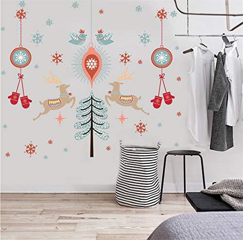 Hlonl Weihnachten Elch Schneeflocke Anhänger Wandaufkleber Pvc Abnehmbare Fenster Glastür Wohnkultur Aufkleber Wandbild