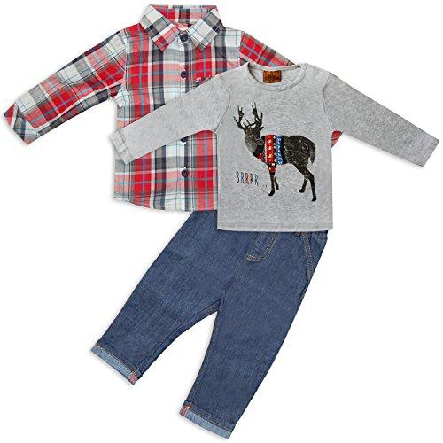 Bambini 3pezzi Abbigliamento set Camicia a quadretti Jeans e maglietta rosso da poco Gent