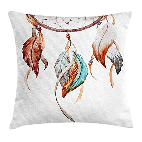 Funda de cojín Feather Throw Pillow, Acuarela Dream Catcher Native American Inspirations Traditional...