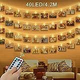 LED Foto Clip Stringa Illuminazione , otumixx 40 Foto Clips Luci di Stringa con Telecomando 4,2M Caldo Bianco LED Immagine Illuminazione per Casa, Matrimonio, Festa di Compleanno