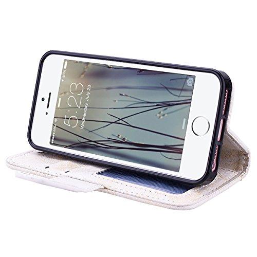 Custodia per Apple iPhone 6 / iPhone 6S (4.7), HB-Int 3 in 1 Blu PU Pelle Cover Cuore Fiori Pattern Chiaro Shell Protettiva Flip Wallet Copertura Con Cinturino da Polso Magnetica Stand Cover Case Boo Bianco