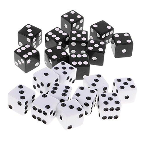 �cke Kunststoff Sechs Seiten Würfel Spot Würfel Für Dungeons Und Drachen RPG Spielen Spiel Requisiten Spielzeug Schwarz Weiß ()