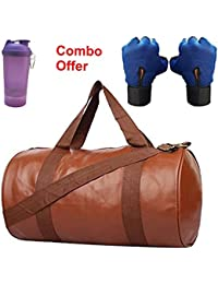 SKYSONS Gym Bag Combo Set Enclosed With Soft Leather Gym Bag For Men And Women For Fitness - Bag Size 49cm X 24cm... - B07DXF5XLL