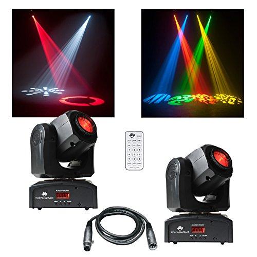 2x American DJ ADJ Inno Pocket Spot Black LED Moving Head DJ Disco Remote, [Import UK-] (Remote-head)