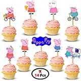 Party Propz Peppa Pig Cup Cake Topper (Set Of 14)/Peppa Pig Birthday Decoration