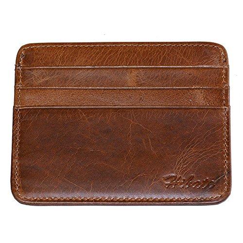 Hibate Leder Kreditkartenhalter, Kreditkartenhülle, Kreditkartenetui, Herren Damen Kreditkarten Kartenhalter Halter Etui, Kartenetui, Credit Card Holder Case (Braun)