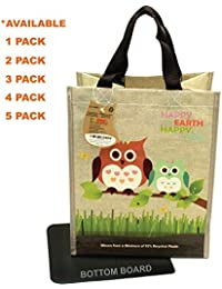 1 : EcoJeannie Super Strong Laminated Mini Woven Reusable Shopping Tote Bag (Avail: Set Of 1,2,3,4,5 Bags), Free...