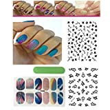 FOK Nail Sticker Combo Of 12 Pc Self Adhesive Tip Nail Art Stickers With 2Pc 3D Nail Sticker Stencil Decals Stamping...