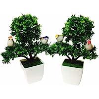 DecoratingLives Artificial Bonsai with Plastic Pot (Green, 2 Piece)