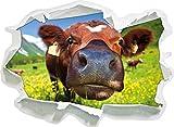 Stil.Zeit Süße Alpen Kuh auf Bergwiese, Papier 3D-Wandsticker Format: 92x67 cm Wanddekoration 3D-Wandaufkleber Wandtattoo
