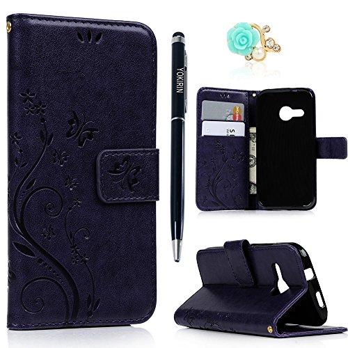 HTC One Mini 2 Wallet Case HTC One M8 Mini Handyschale YOKIRIN Premium Schmetterling Blumen Muster PU Ledertasche Schutzhülle Hardcase Brieftasche Hülle Etui Tasche Schutz Bumper Flipcase Ledercase Buchstil Klapptasche in Lederoptik Karteneinschub und Magnetverschluß Purple