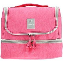 Neceser de viaje con gancho colgante para hombres y mujeres Organizador de bolso cosmético con manija Bolsa de maquillaje bolsa de diseño lindo para accesorios de viaje (Rosado)