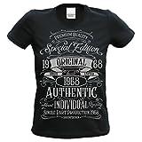 Soreso Design Tshirt Damen zum 50.Geburtstag Geschenkidee für Frauen Special Edition 1968 Retroshirt Kurzarm Farbe: schwarz Gr: L