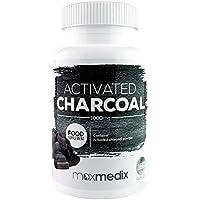 Premium Activated Charcoal Kapseln | Hochdosierte Natürliche Aktivkohle zur Entgiftung, Verdauung und Detox | Gegen Blähungen und Flatulenzen | Körper Entgiften und Verdauung Verbessern | 180 Kapseln