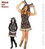 Damenkostüm Giraffe 1-TLG. kurzes Kleid in braunem Muster mit Rüschen und Kapuze mit lustigen Ohren und Giraffenhörnern Rüschen , Zoo, Afrika, Tierkostüm, Verkleidung für Erwachsene
