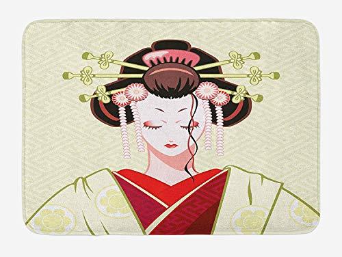 Geisha Bath (JIEKEIO Japanese Bath Mat, Geisha Woman Portrait Traditional Asian Kimono Maiko Cultural Hairdo, Plush Bathroom Decor Mat with Non Slip Backing, 23.6 W X 15.7 W Inches, Green Red Pale Yellow)