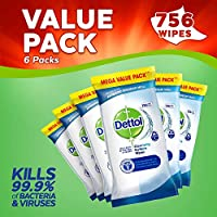 Dettol Antibacterial Surface Cleaning Wipes, 756 Wipes, Pack of 6 x 126