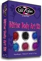 Kit de tatuajes con brillantina: Nuevo GlitZGlam con 6 envases de brillantina grandes y 12 plantillas reutilizables. Tatuajes temporales para niños, adolescentes y adultos de GlitZGlam