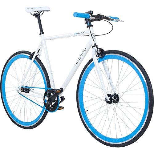 Image of 700C 28 Zoll Fixie Singlespeed Bike Galano Blade 5 Farben zur Auswahl, Rahmengrösse:56 cm, Farbe:Weiß / Blau