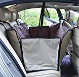 Durable Dog Seat Covers Travel Nonslip Waterproof Back Seat Cover With Car Safety Seat Belt ,Dog Car Seat Cover With Extra Side Flaps Scratch-proof Abrasion Resistance And Hammock Convertible Universal ( Color : Brown )