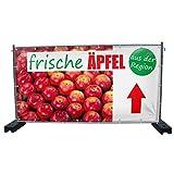 (PVC) Frische Äpfel B1 oben Werbebanner, Banner, Werbeschild, Plane, Werbung, 340 x 173 cm, DRUCKUNDSO