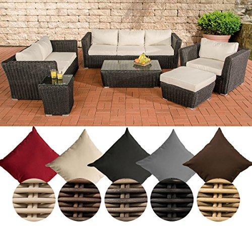 CLP Polyrattan-Sitzgruppe MANDAL inklusive Polsterauflagen | Garten-Set bestehend aus einem Loungetisch, einem 2er-Sofa, einem 3er-Sofa, einem Sessel, einem Fußhocker und einem Beistelltisch| In verschiedenen Farben erhältlich Rattan Farbe schwarz, Bezugfarbe: Cremeweiß
