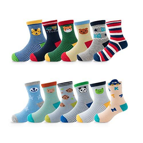 HBselect 12 Paar Socken Baby Jungen Mädchen Baumwolle elastische formstabile Kindersocken (12 x Jung Lang 1, 21-23,5 (für 3-5 Jahre, Füß 140-160mm))