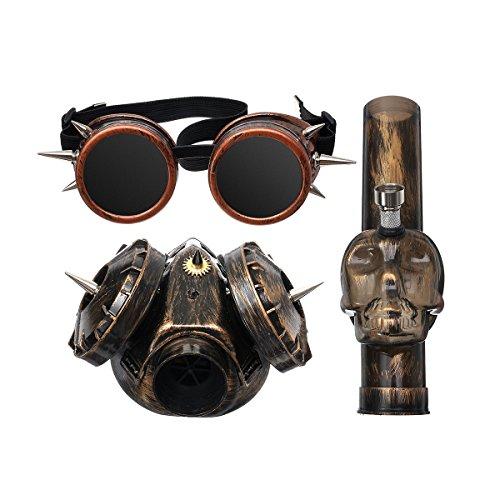 SAFETYON Punk Gas Mask Bong Wasserpfeife Bong Hookah Mask Punk Stil Douple Lens Brille und Allegemein Lens Brille Allgemein Lens